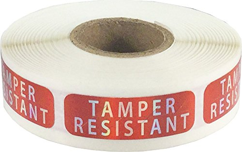 Tamper Resistant Labels, 0.5 x 1.5 Inch Rectangle, 500 Stickers on a Roll