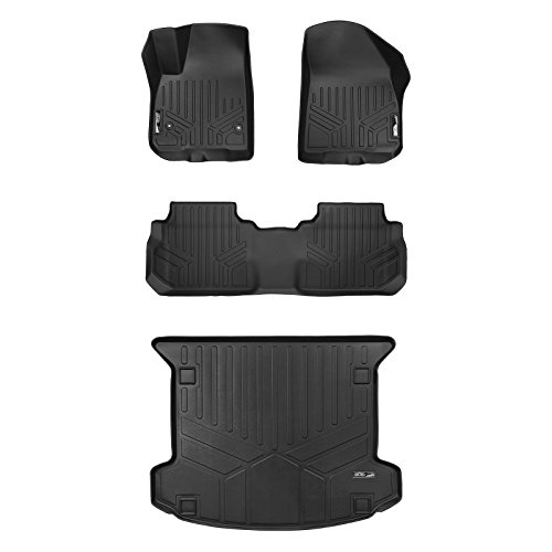 SMARTLINER Floor Mats 2 Rows and Cargo Liner Set Black for 2017-2019 Cadillac XT5
