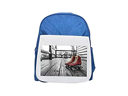 Roller, Roller Blades, Roll Patines Printed Kid s Blue Backpack, Cute de