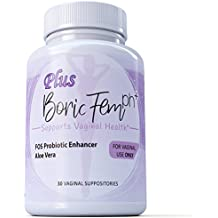 Boric Acid Vaginal Suppositories Plus Aloe Vera & FOS Probiotic Enhancer 800mg/, 30 Count All Natural Made in USA
