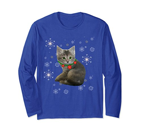Kitten Long Sleeved T-shirt (Unisex Cute Kitten in snow flakes Unisex long sleeved tshirt 2XL Royal Blue)