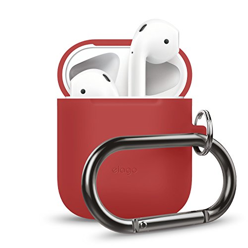 elago AirPods Hang Case [Red] - [Extra Protection] [Hassle Free][Added Carabiner] - for AirPods Case