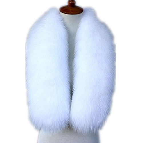 Blue Fox Fur Scarf (Winter Straight Scarf Wrap real fox Fur Collar Shawl Shrug Fluffy Collors (white))