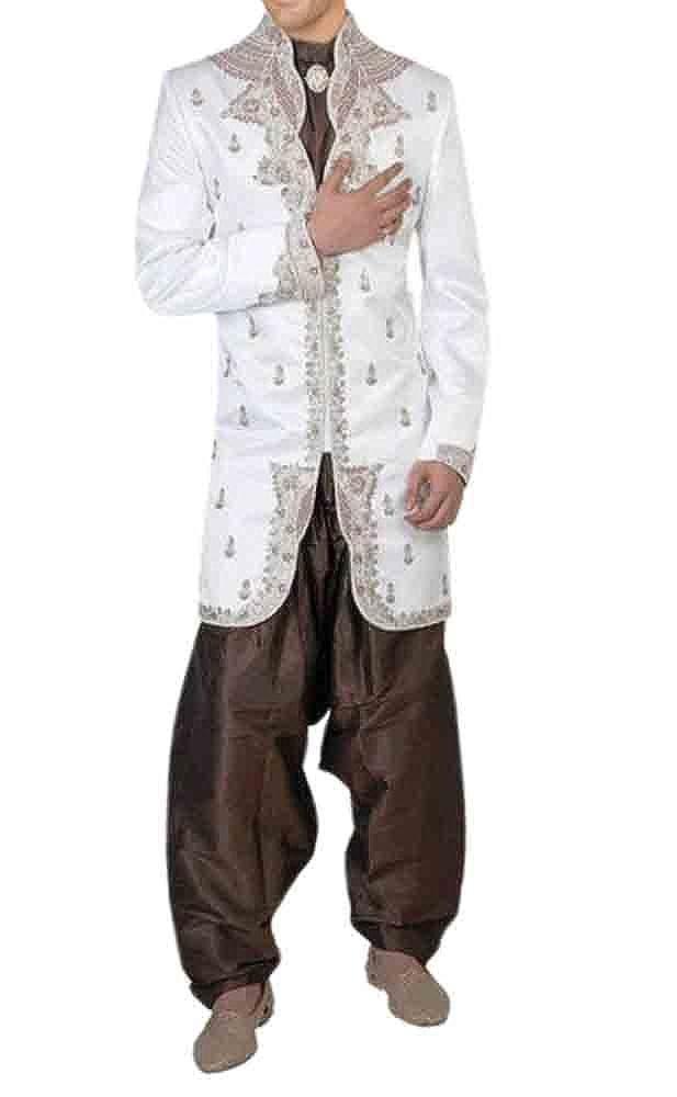 INMONARCH Mens Most Wonderful White Designer High Neck Indo Western IN179
