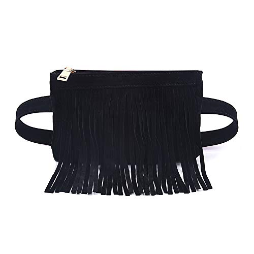 (Fashion Black Velvet Fringe Tassel Waist Fanny Pack Belt Bag Travel Purse for women)