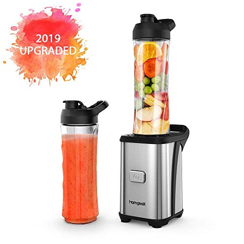 Personal Mini Blender Smoothie Maker Single Service for Shakes and Smoothie, homgeek Portable Small Fruit Vegetable Milk Countertop Mixer Juicer Cup with Travel Lid 600ml Tritan Travel Sport Bottle (The Best Blender For Smoothies)