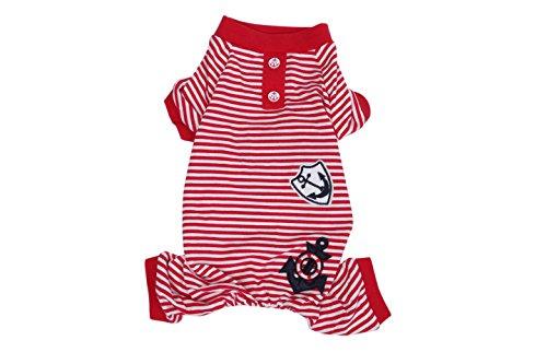 Cotton Striped Sailor Pajamas for Pet Puppy Jumpsuit Dog Apparel