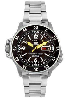 Seiko Men's SKZ211K1 Five Sports Stainless Steel Automatic Watch Seiko Automatic 200m Diving Watch