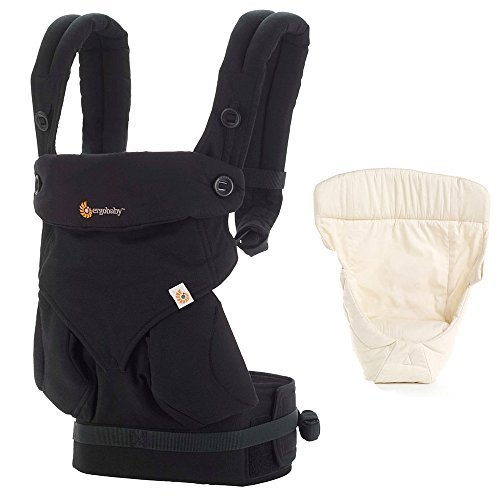 Ergobaby Bundle - 2 Items: Pure Black Four Position 360 Baby Carrier and Easy Snug Infant Insert Natural