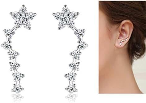 Mariafashion Ear Crawler Cuff Earrings Sterling Silver Star Ear Climber Studs Hypoallergenic