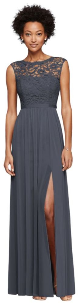Long Bridesmaid Dress with Lace Bodice Style F19328, Pewter, 6