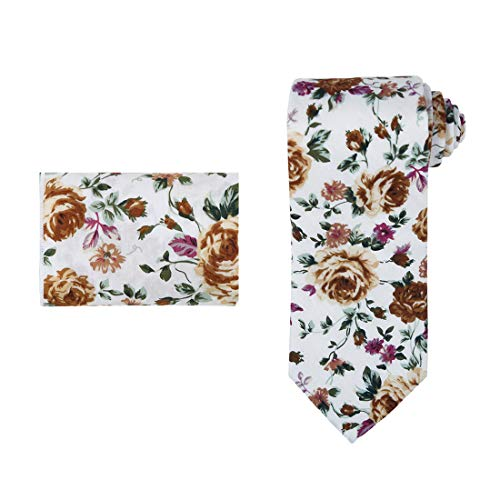 Dan Smith C.C.N.B.044 Brown White Green Purple Business Men's Floral Cotton Neck Tie Hanky Set ()