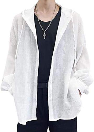 [ウンセン]アウター メンズ 長袖 UVカット ゆったり カーディガン フード付け 冷房対策 男女兼用 シャツ 薄手 日焼け止め ファッション ロング 無地 夏
