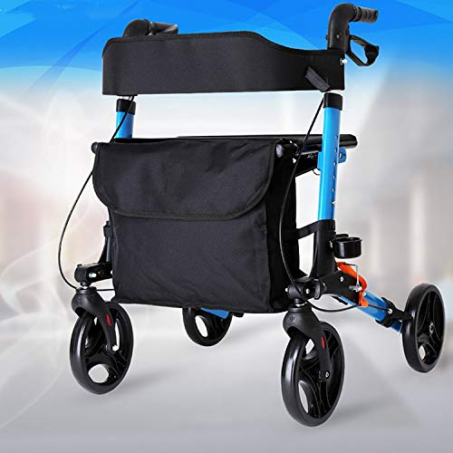 Stand Up Rollator Walker, Adjustable Handle Height with Upholstered Seat and Lower Basket Auxiliary Walking Safety Walker (Size : Blue-A) by YL WALKER (Image #8)