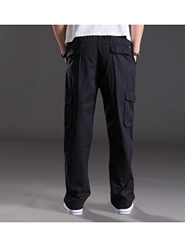 Mesinsefra Men's Full Elastic Waist Cargo Pants Black Lable 6XL-US 44