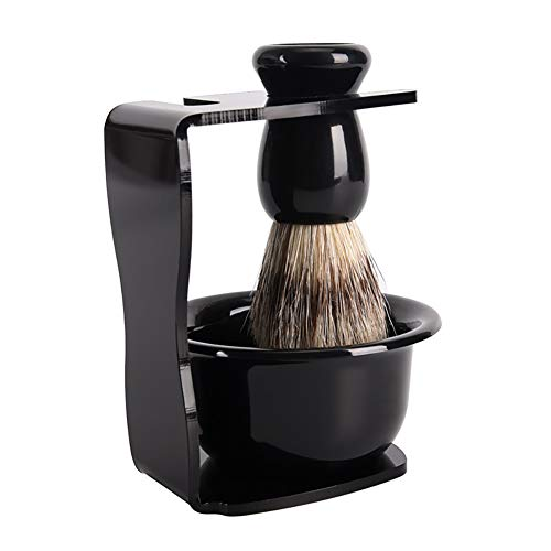 Xiton 3PCS/Set Man'S Shaving Kit Pure Badger Hair Shaving Brush Plastic Shaving Bowl Acrylic Shaving Brush Razor Stand Frame Base Bowl Holder Ideal Men'S Shave Grooming Tool