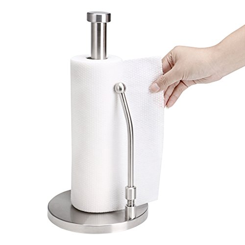 Sumnacon Tension Arm Paper Towel Holder - Stainless Steel Standing Kitchen Paper Towel Holder, Modern Antirust Roll Paper Towel Holder Countertop For One Handed Easy Tear Off (Towel Holder Paper Steel Spring Stainless)