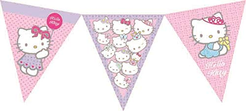 FNA FASHIONS Hello Kitty Bunting Greeting New Birthday Party Decoration Flags Banner Hanging ()