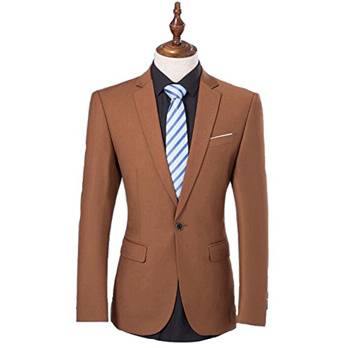 ual Slim Fit 2 Pieces Business Suits - Brown S (Portly 2 Button Jacket)