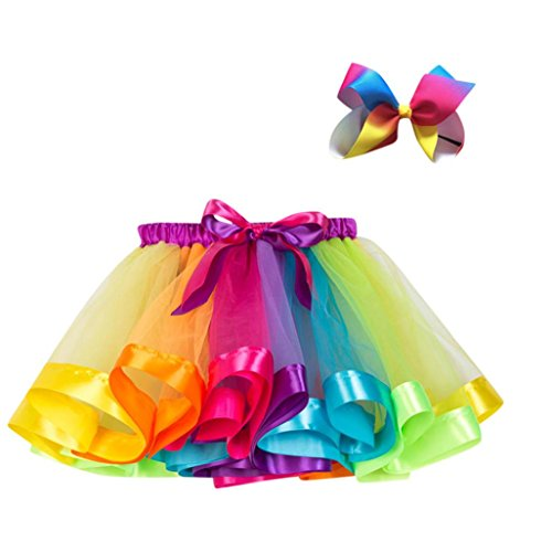 UMFun Kids Girls Tutu Party Dance Ballet Skirt Toddler Rainbow Colors Skirt+Bow Hairpin Set (Multicolor, 1~4 Years old)]()