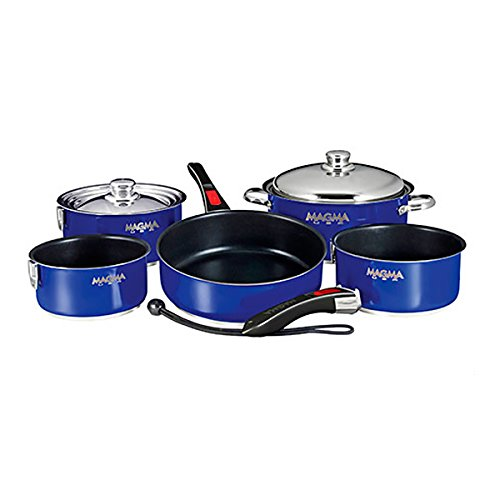 Magma Products, A10-366-CB-2 Gourmet Nesting Stainless Steel Cookware Set with Non-Stick Ceramica (10 Piece), Cobalt Blue