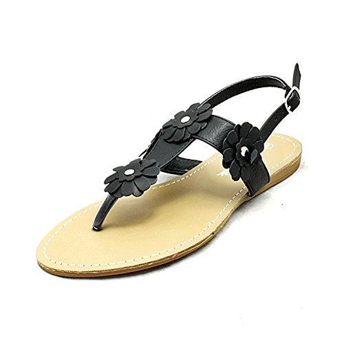 Slingback Flower and Post With SendIt4Me Sandals Black Flat Ladies Detail Toe qw0XE