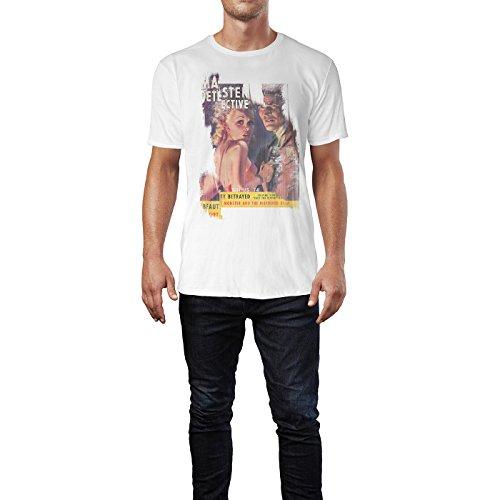 SINUS ART® The Monster and the Murdered Bride Herren T-Shirts stilvolles weißes Fun Shirt mit tollen Aufdruck