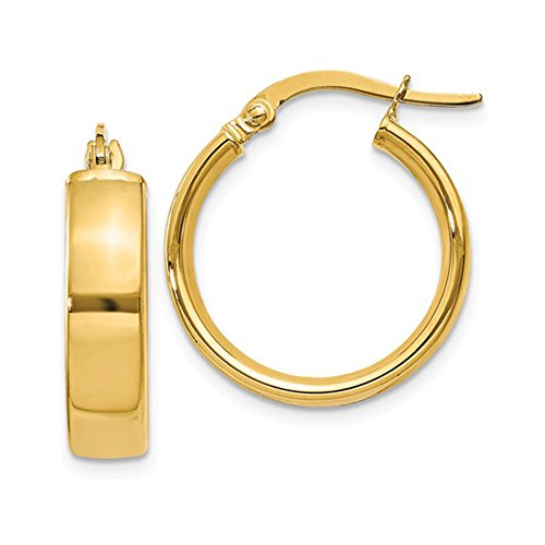 14K Yellow Gold Wide Square Tube Hoop Earrings with Click-Down Clasp, .63 Inches (16mm) (4.75mm Wide) by LooptyHoops