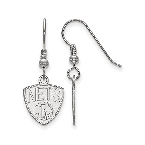 NBA Brooklyn Nets Small Dangle Earrings in Sterling Silver by LogoArt