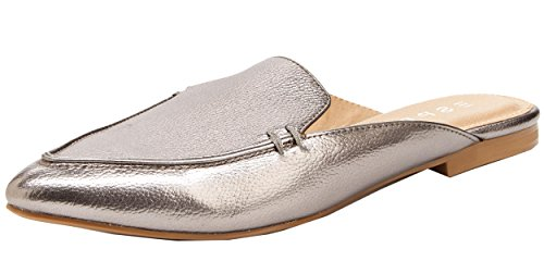 Leather Pointed Toe Mules (Esprit Womens Mia Memory Foam Slip On Pointed Toe Flat Mule (8.5 B(M) US, Pewter))