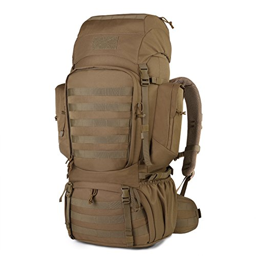 Mardingtop 60L Internal Frame Backpack Tactical Military Molle Rucksack for Camping Hiking Traveling with Rain Cover, YKK Zipper YKK Buckle Khaki-6226 -