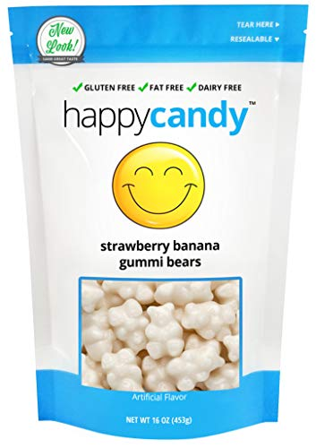 Happy Candy Strawberry Banana Gummi Bears - Gluten Free, Fat Free, Dairy Free - Resealable Pouch (1 Pound)