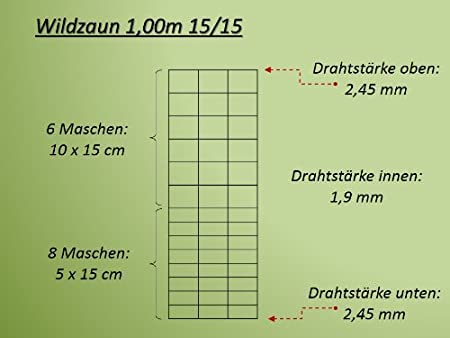 50m Wildzaun Forstzaun Drahtzaun Weidezaun Knotengeflecht 100//15//15