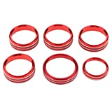 Flameer 6pcs Audio Air Conditioning Button Cover Decoration Twist Switch Ring Trim for Ford F150 2016 2017 2018 (Red)