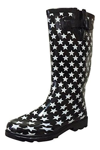 MSTKH Rain Stars Black Rubber White Boots Womens PSW Ofwx6q