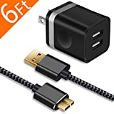 Galaxy S5 /Note 3 Charger, WITPRO 6Ft Durable Braided Fast Charging Cable and 2.1A/5V Dual USB Wall Charger Plug Compatible with Samsung Galaxy S5, Note 3 /Tab Pro 12.2 (Black)