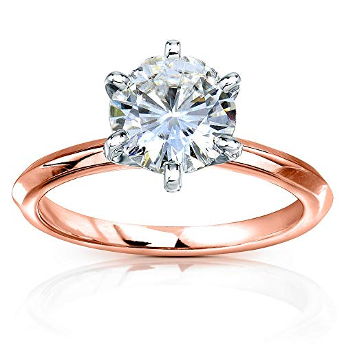 - Classic Solitaire Round Brilliant Moissanite Engagement Ring 2 Carats 14k Rose Gold, 7