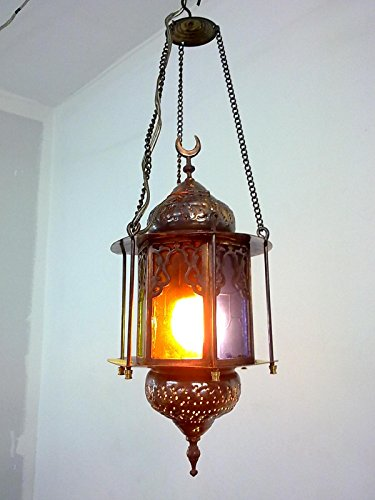 BR59 Egyptian Handmade Islamic Hanging/Pendant Brass Lamp/Lantern COLORED GLASS by Generic