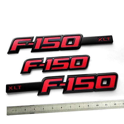 3pcs OEM F-150 Xlt Emblem Side Fender F-150 Rear Tailgate Badge 3D Nameplate Replacement for F150 Origianl Size Genuine Parts Black Red