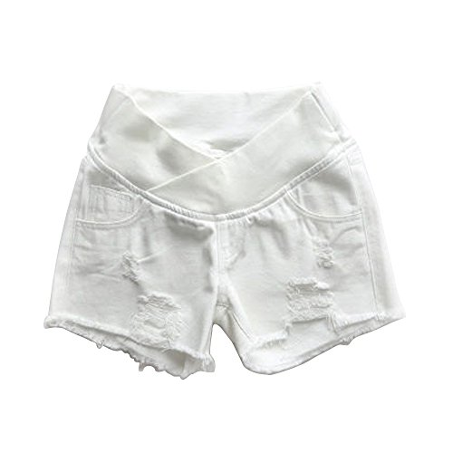 Women's Low Rise Wide Elastic Band Waist Pregnant Denim Shorts Maternity Short Jeans White Tag XXL-US 8 (Maternity Jeans Underbelly)