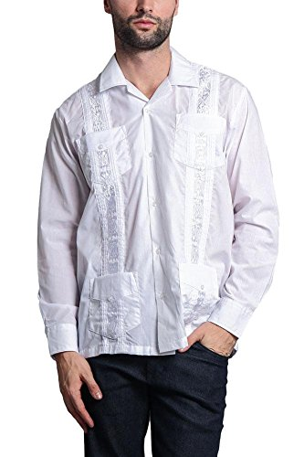 G-Style USA Men's Long Sleeve Guayabera Cuban Short Sleeve Collared Embroidered 4 Pocket Cotton Blend Shirt 2016-1 - White - 5X-Large ()