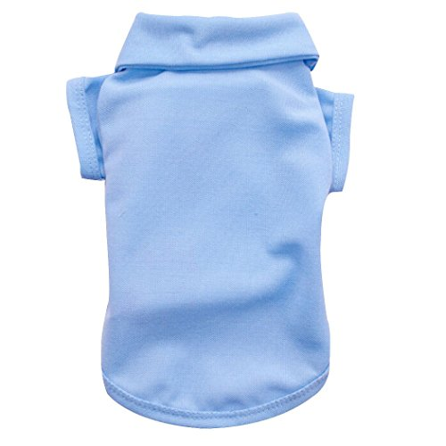6 Colors Pet Dog Polo T-shirt Puppy Apparel Doggy Clothes Solid-colored Outfit 5 Sizes - Blue, M (Doggy Clothes)