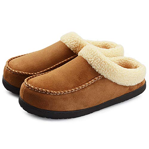 VLLY Men's Soft High Density Memory Insoles Comfort Anti-Slip Rubber Sole Indoor OutdoorSlippers US 11 Brown