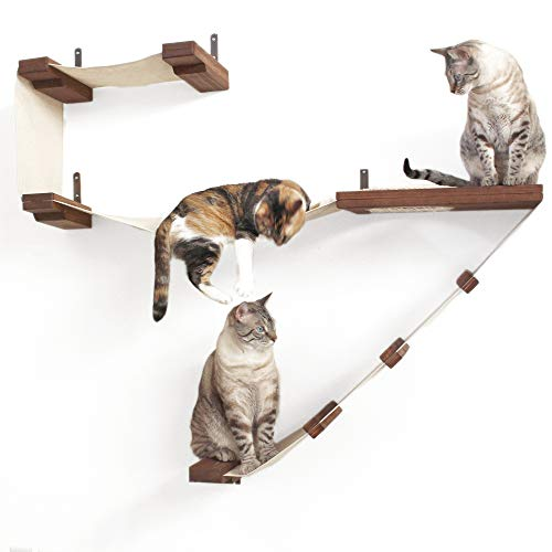 CatastrophiCreations Deluxe Cat Playplace - Cat Hammock & Climbing Activity Center - Handcrafted Wall-Mounted cat Tree ()