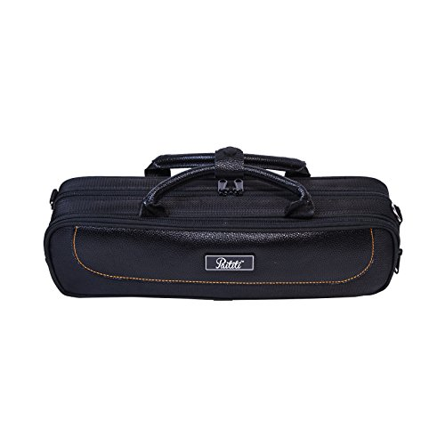 Paititi Genuine Leather ''B'' Flute Lightweight Case with Shoulder Strap Black Color by Paititi (Image #1)