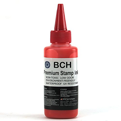 Red Stamp Ink Refill by BCH - Premium Grade - 2.5 oz (75 ml) Ink Per Bottle ()