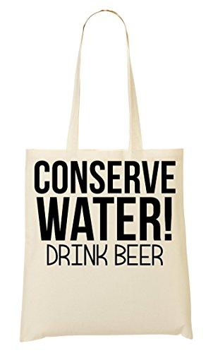 Conserve Water Drink Beer Bolso De Mano Bolsa De La Compra