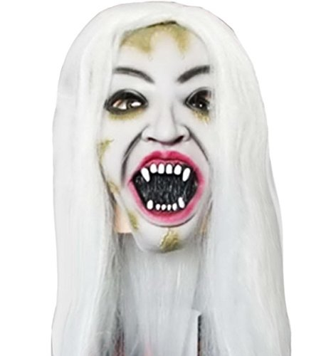 [Feoya Halloween Horror Open Mouth Devil Ghost Costumes Mask with White Hair] (Joker 2016 Costume)