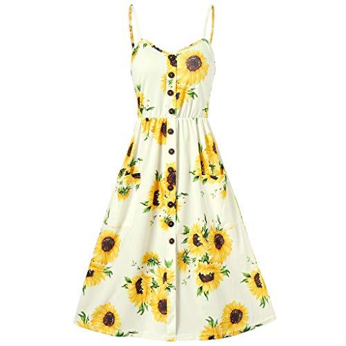 Women Dresses Teen Girls Summer Button Vintage Off Shoulder Boho Elegant Sleeveless Evening Party Swing Dress -