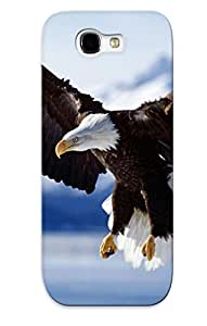 Galaxy Note 2 Bird Hard Back With Bumper Silicone Gel Tpu Blue Sky Case Cover For Lover's Gift Bald Eagle Alaska